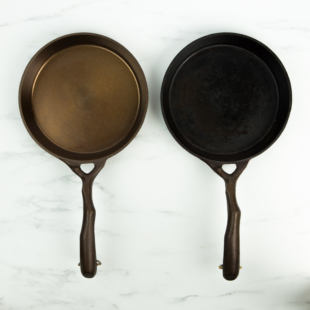 Here's a brand new pan alongside a well used one.
