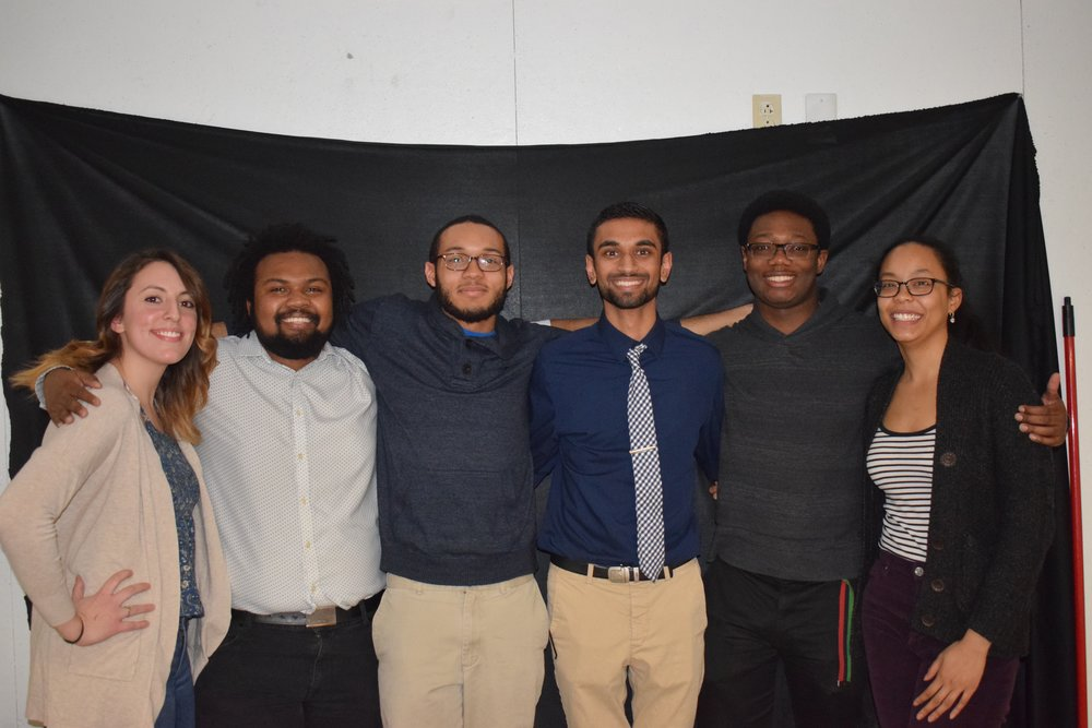 Current NOMAS office ( From Left to Right ): Michelle Morsicato -  Secretary,  Neil Daniel -  Co-President , Ben Finkley -  Presidential Advisor , Vrajesh Patel -  Treasurer,  Adonijah Campbell -  Co-President , and Sachia Chin Loy -  Historian