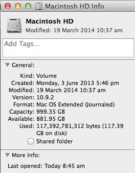 Get Info Macintosh HD