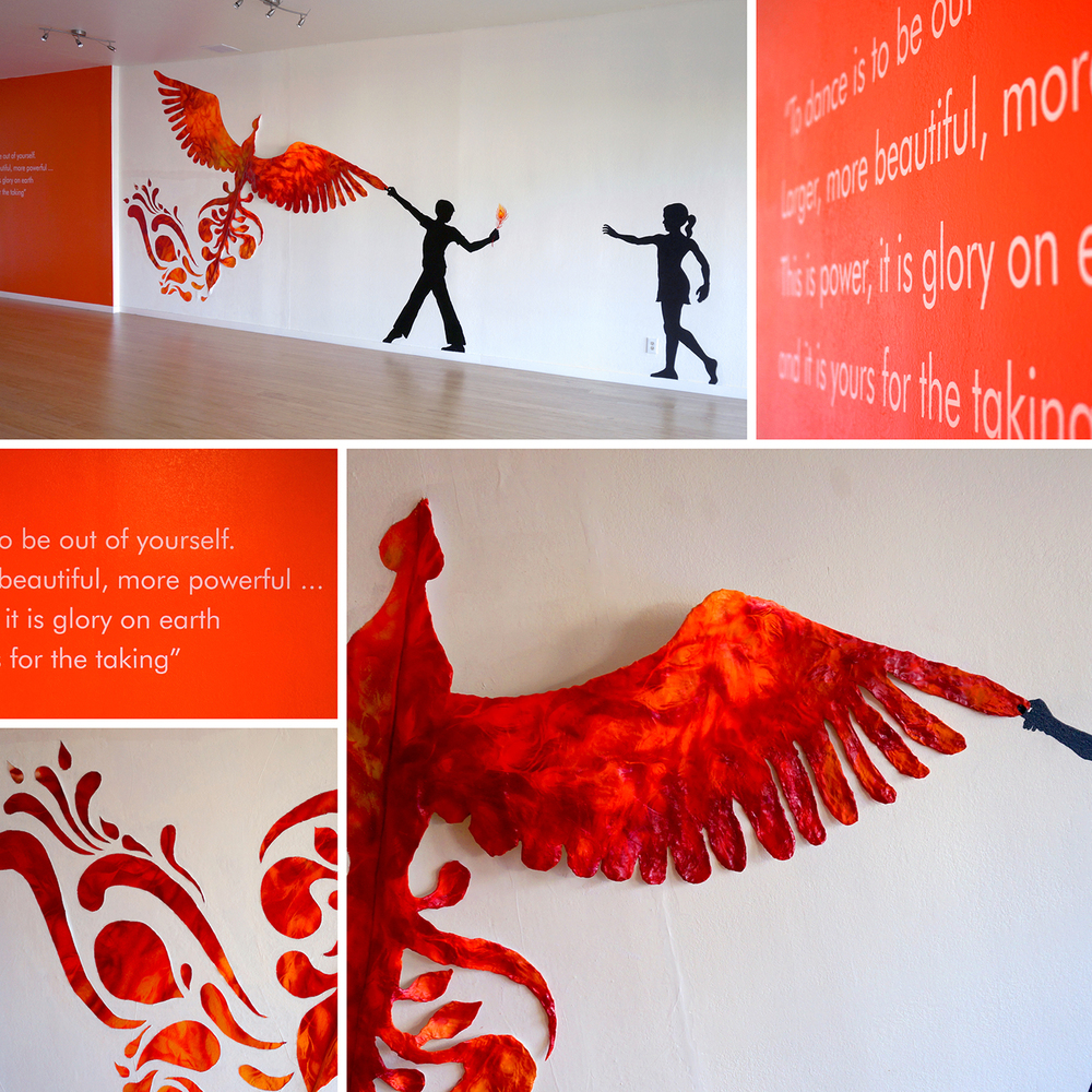 Firebird Dance Studio Interior Graphics, 2014 AGDA winner, Environmental Graphics Category