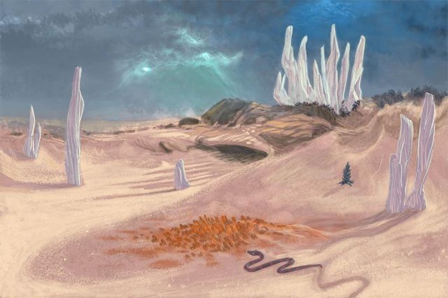 A Frank Herbert's Dune inspired thing from 2015 I never showed anyone, found while rummaging for stock. #digitalart #painting #sketch #environment #beach #crystals #crystal #snake #plant #spice #thespicemustflow #dune #fremen