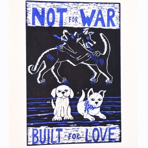 There is no love like the love of a dog. This is a linocut I made to remind people of the immense capacity of love that dogs have. In my mind, man's special relationship with animals (when not being abused) is one of the most beautiful and unique things. #dogood #animalrights --- #linocut #printmaking #adoptdontshop #dogfighting #protectthepuppies #dailyart #myart #artbyallirath #dogstagram