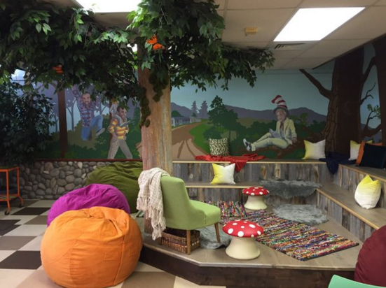 Transformed wall in the Mary Buren Elementary school library.