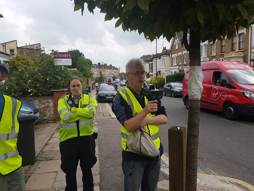Local residents' and the Police monitoring traffic in Palace Gates Road in 2015