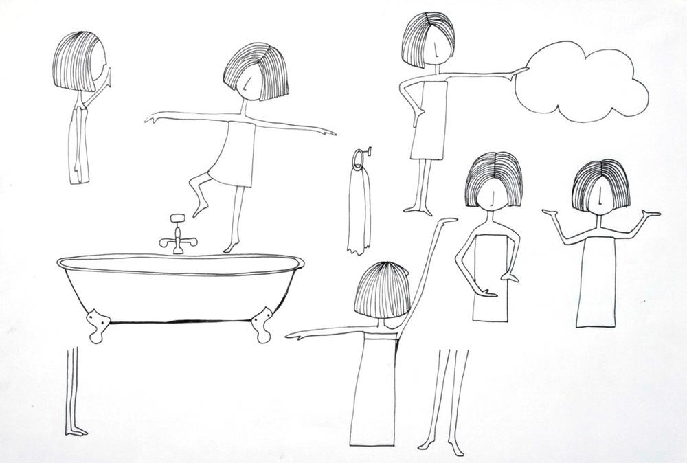 1.Tudo começa com os desenhos deGraziela Mattar. Aqui são as brincadeiras de uma menina na banheira.