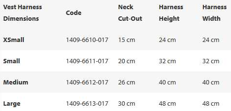 Vest Harness Sizes