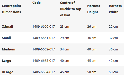 Centrepoint Harness Sizes