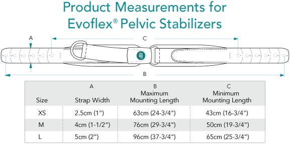 Measurements for Evoflex Pelvic Stabiliser