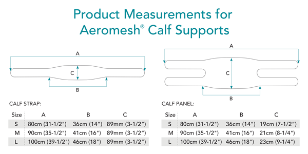 Aeromesh Calf Support Measurements