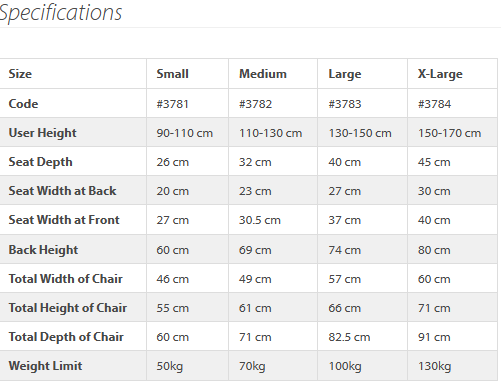 Gravity Chair Specifications