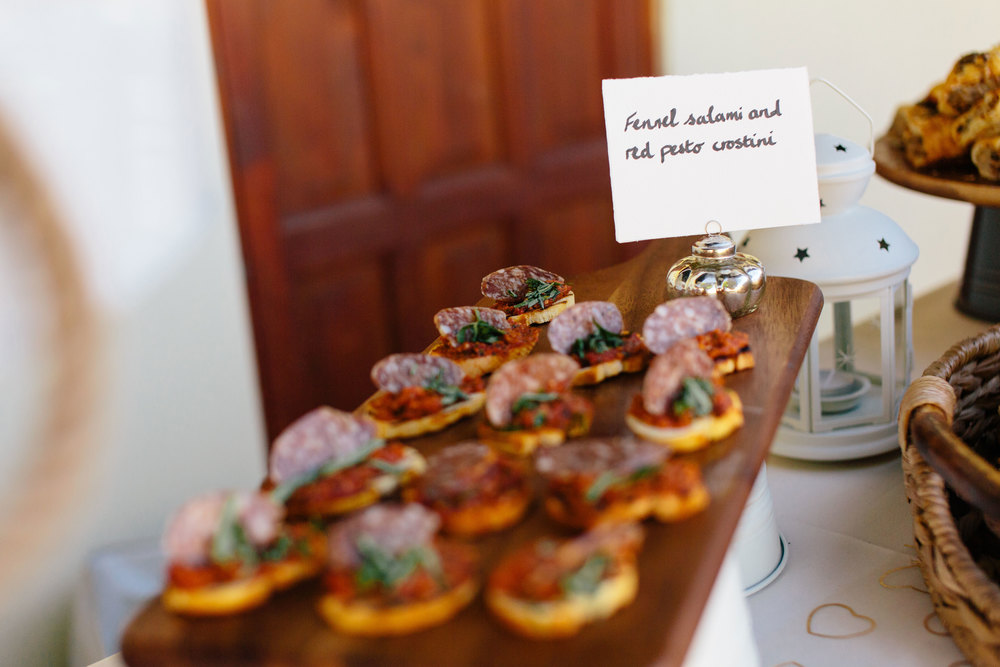 Salami canapes, wedding food - The Cotswold Kitchen