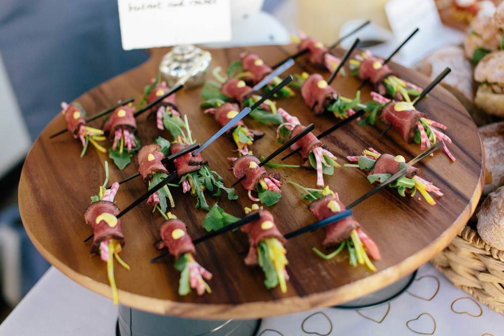 Steak canapé with beetroot & rocket - perfect for weddings