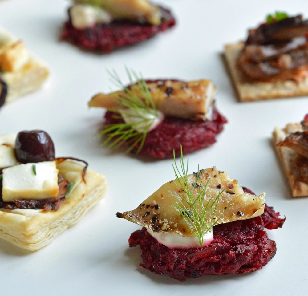 Beetroot rosti canapes - The Cotswold Kitchen food