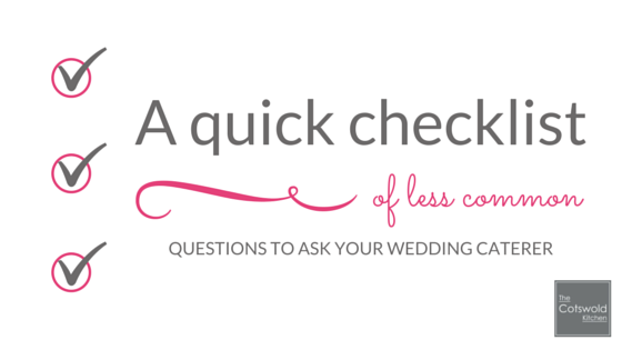 A quick checklist - questions to ask your wedding caterer