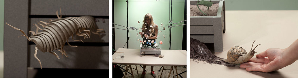 behind the scenes shot of Mandy prepping the moths circling around her precious paper flower box
