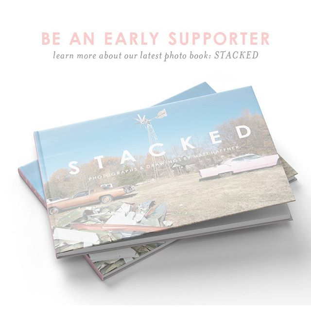 "Sound the trumpets! 🎉 Today we're officially unveiling Fall Line's latest project to you. Meet ""Stacked"": A book of photographs and drawings by Matt Haffner (@sandybandaids) - That also means we're buckling up for another wild ride of Kickstarter funding to publish the 2nd of our three releases this year. We've been working hard behind the scenes on this project for months now, and we think it is 142 pages of fantastic— ""Stacked"" is a hardcover book with a semi-transparent vellum jacket, 90+ color plates, drawings from the artist, and an essay from the delightful writer and artist Jonathan Blaustein. Please consider supporting the book (link in profile). - So excited to share some of our favorite images and hidden gems from the book in the coming days!"