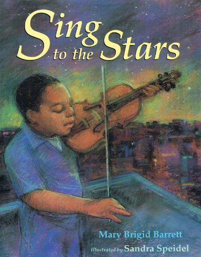 "Sing to the Stars by Mary Brigid Barrett illustrated by Sandra Speidel © 1994 Little, Brown & Company In a moving story thematically reminiscent of Emily Arnold McCully's Mirette on the Highwire (Putnam, 1992), a young boy helps a blind pianist to play again after a long, grief-induced hiatus. On his way home from his violin lesson, Ephram is greeted by Mr. Washington, who encourages him to perform at an upcoming neighborhood concert in the park. The boy's grandmother tells him the story of Flash Fingers Washington, who ""played hot, joyful jazz and cool, soulful blues"" until an accident killed his little girl and left him without his sight. When a brownout leaves the concert in darkness, the two musicians proceed to the stage and perform ""Amazing Grace"" together. The prose has a beautiful cadence, and the contrast of city sounds with the suggestion of gentle violin music is effective. Mr. Washington's heightened sensory perception that compensates for his blindness is subtly established. The muted tones of the pastel chalk art reach to the ends of every page. They blend and balance dark browns and blacks with soft pinks, lavenders and blues, and bright greens and yellows. The sketches are impressionistic, with details only suggested, and the effect is breathtaking. A lovely book. School Library Journal; © 1994 Reed Business Information, Inc.   An American Booksellers' Association ""Pick of the List""and a National Council of Social Studies Teachers and Children's Book Council ""Notable Children Trade Book in the Field of Social Studies."" Sing to the Stars  is also a recommended in a number of multicultural children's book guides."
