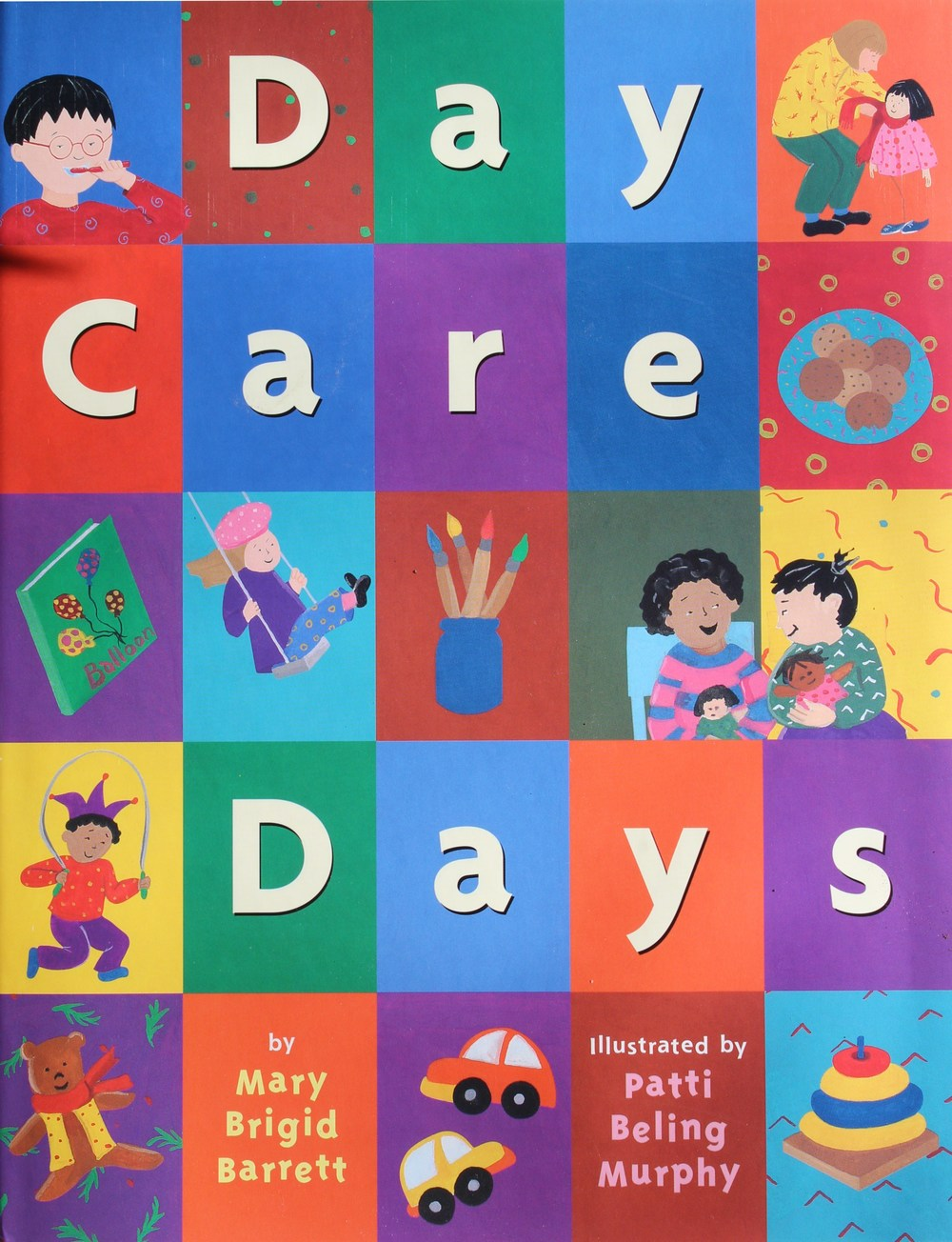 "Day Care Days by Mary Brigid Barrett illustrated Patty Beling Murphy © 1999 Little, Brown & Company A little boy recounts the events of his family's busy day, from waking up, getting dressed and off to day care, until his Daddy picks him and his baby brother up and brings them home.   Barrett presents a whirlwind tour of the ups and downs of a young boy's day. The scope of the book is broader than just day care; it begins with the family's waking, the morning ablutions, the car ride to day care, and, back at home, dinner, and bedtime. The pace of the rhyming text is a bit hurried, yet busy families will relate to the all-too-familiar activities. ""Quick, go potty!/Daddy shaves./Mommy, in the shower, waves./Sister, SWISH-SWISH, brushes teeth./Baby's diaper starts to leak!"" The illustrations, done in gouache on watercolor paper, while attractive, reinforce the sense of busyness-wallpaper, clothes, and rags are splashed with loud patterns and bright colors, creating a larger sense of disorder. There are even a few moments of sadness-a tear shed when Dad says good-bye and the loneliness felt by the protagonist and his baby brother when they are the last to be picked up at the end of the day. These incidents are, however, countered by moments of quiet tenderness. Overall, an upbeat and positive slice of life.School Library Journal; © 1999 Reed Business Information, Inc. Day Care Days won an Oppenheim Gold Award, given to outstanding new books that enhance children's lives, as well as being named one of the best books of 1999 by Working Mother's Magazine."