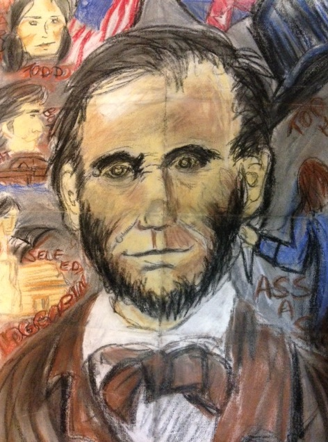 This is my first pastel drawing, done in eighth grade, for extra credit for my American history class. It is supposed to be Abraham Lincoln. It doesn't look anything like Lincoln,but at least I got the mole right!