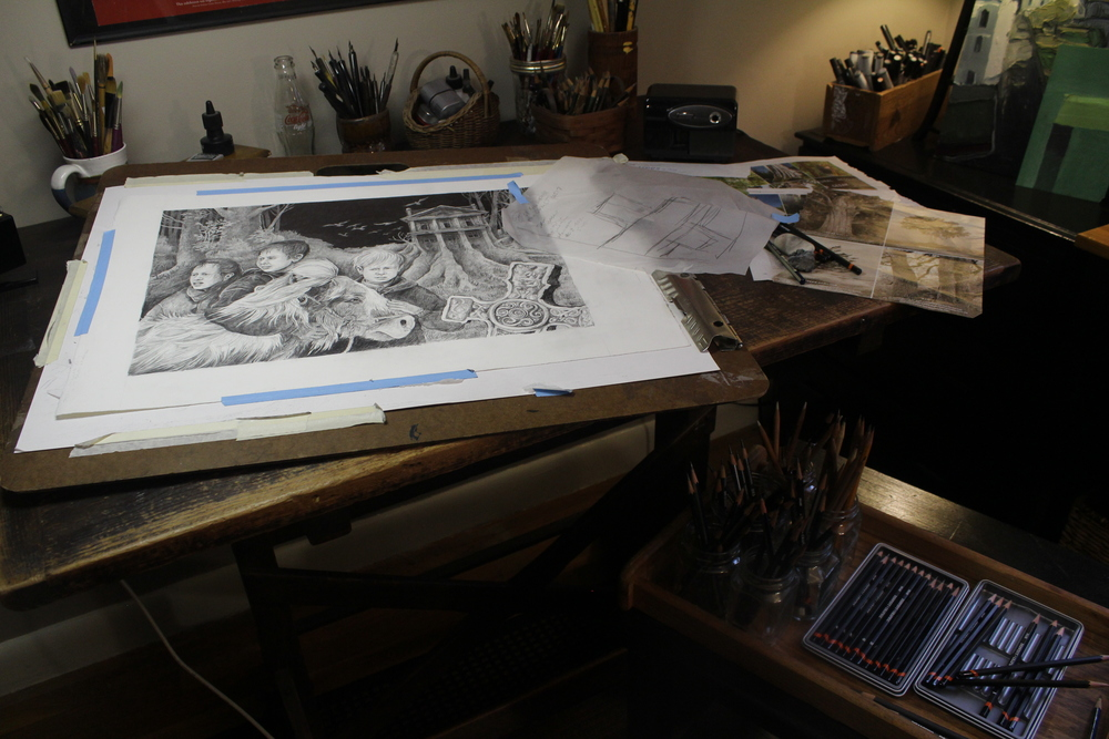 When working on black and white or color finishes, I fasten my work to boards, rather than my table, when I am drawing and painting. Boards give me more flexibility and, using several boards, I can work on more than one drawing or painting at a time.
