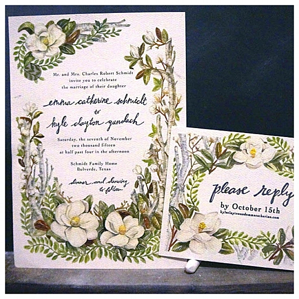 Liz Maycox, Gundlach Wedding invitations watercolor, Illustratio