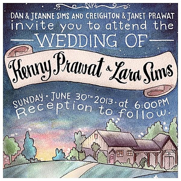 Liz Maycox Illustration Prawat Sims Wedding Invitation
