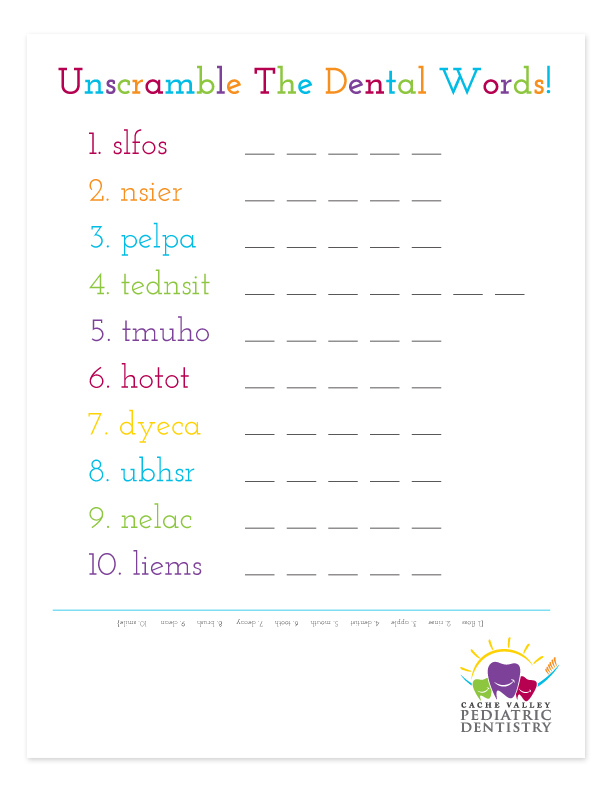 "Download & print ""UNSCRAMBLE THE DENTAL WORDS"" - unscramble the mixed up words!    (download black and white version here)"
