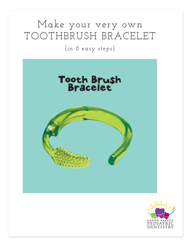 "Download & follow the instructions on how to make the ""TOOTH BRUSH BRACELET"" - be sure to have adult help! (download black and white version here)"
