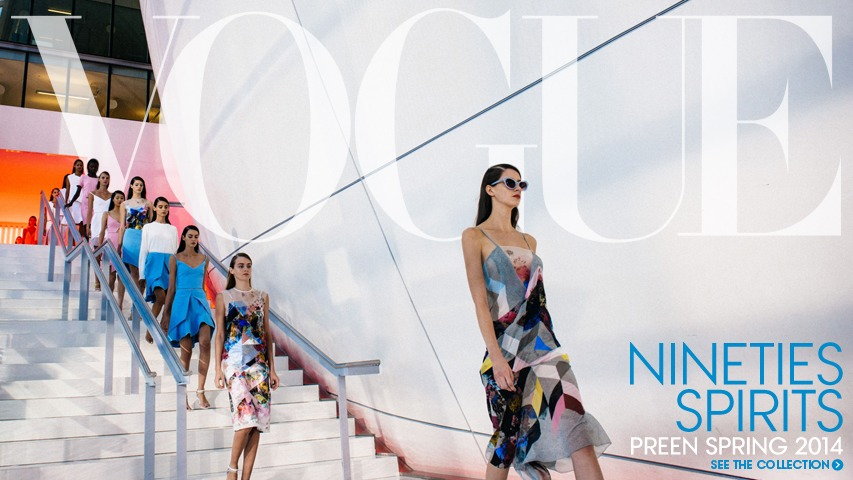 Front page of American VOGUE.com. # Art direction for Preen at London Fashion Week