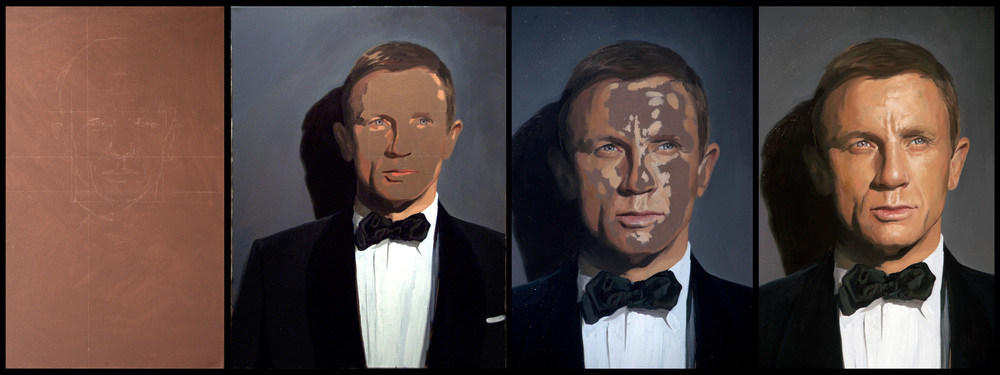4 stages of Daniel Craig Portrait