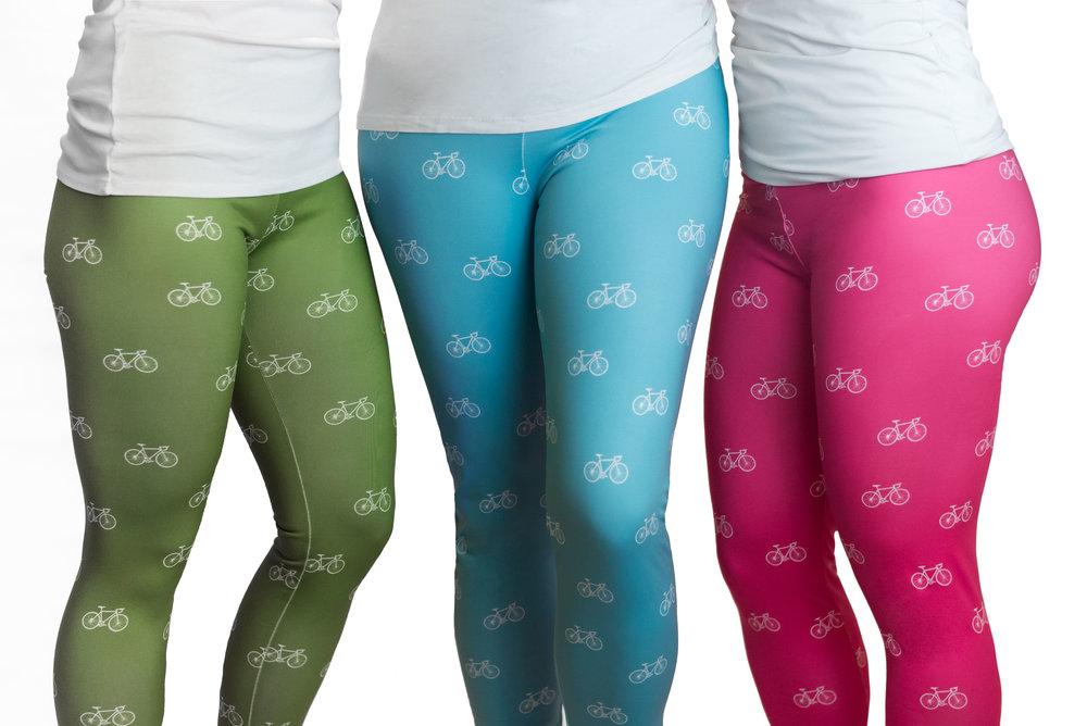 "Fleece-lined leggings in ""I Like Bike"" print"