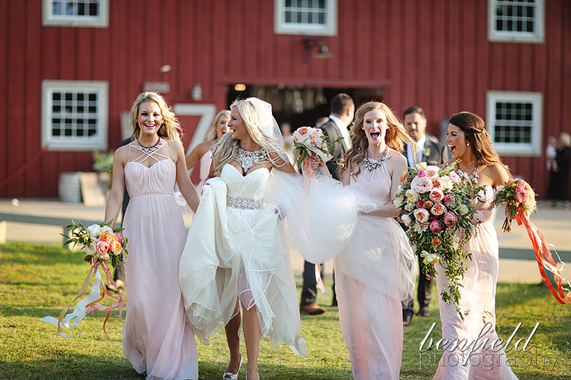 Kirsten chose Occasions bridesmaid dresses in blush. Each girl wore different styles with matching necklaces.