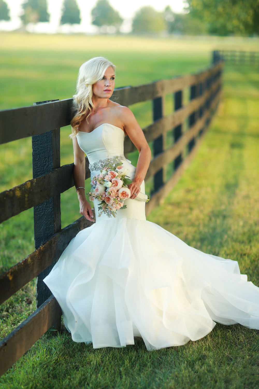 "Brooke Hardin wore ""River"" from the Blush collection by Hayley Paige. Photograph by Benfield Photography"
