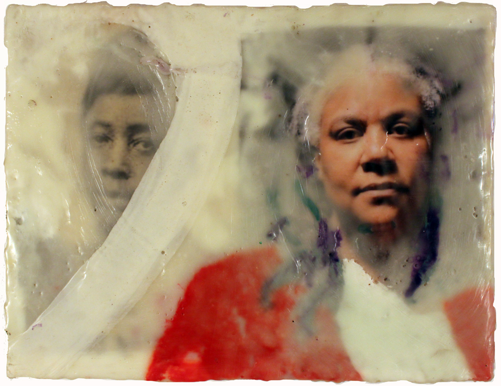 Three Degrees, Antoinette, and Gilda  . Gilda Snowden. 2010. Photograph with encaustic. Photo courtesy of Oakland University Art Gallery.