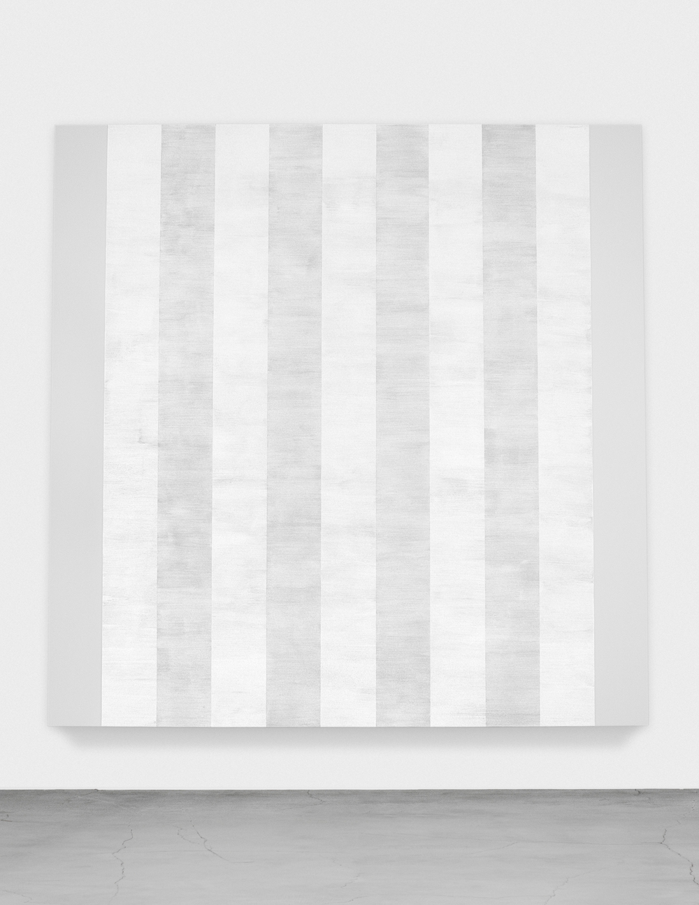 Untitled (White Multiple Inner Bands, Beveled) , 2011  Glass Microspheres In Acrylic On Canvas 8' (H) X 8' (W) Ace Gallery