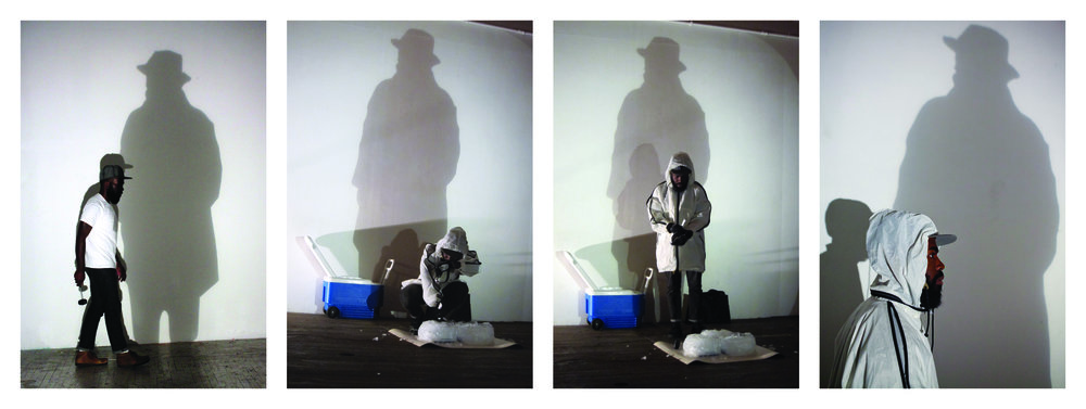 Derrick Adams, I Crush A Lot (Hammons), 2011-2013. Digital photograph. 36 in. x 24 in. each, Edition of 3. From Communicating with Shadows, performance and photo series.