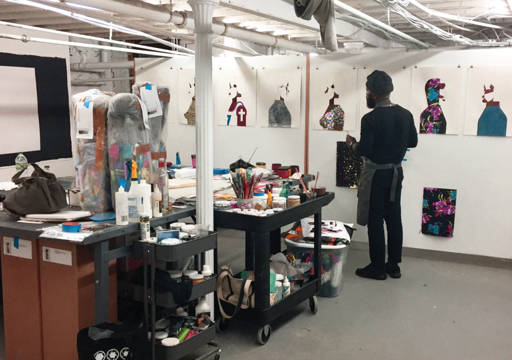 Derrick Adams in his Brooklyn studio, 2017