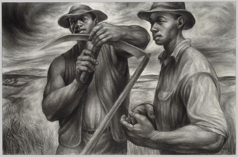 Charles White,  Harvest Talk,  1953. Charcoal, Wolff's carbon drawing pencil, and graphite, with stumping and erasing on ivory wood pulp laminate board. 26 × 39 1/16 inches. The Art Institute of Chicago. Restricted gift of Mr. and Mrs. Robert S. Hartman. © 1953 The Charles White Archives.
