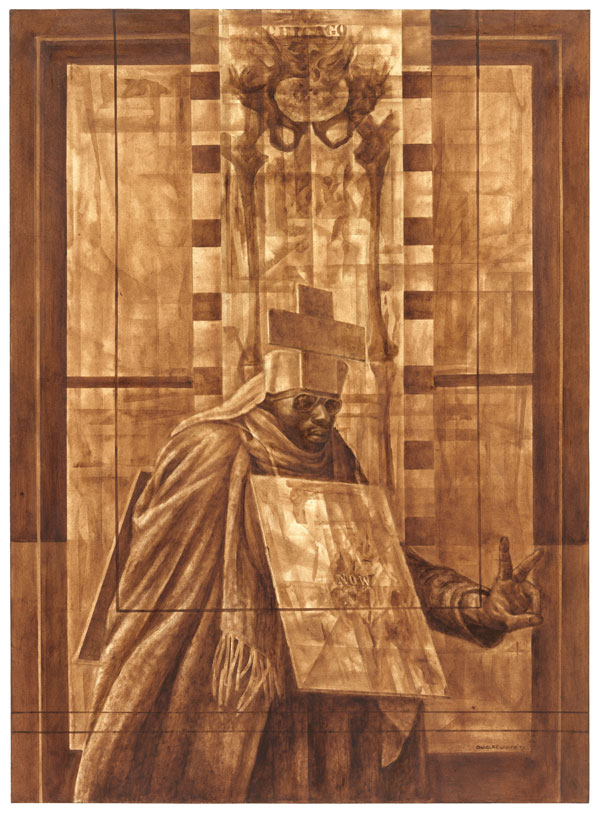 Charles White.  Black Pope (Sandwich Board Man) , 1973. Oil wash on board. 60 × 43 7/8 inches. The Museum of Modern Art, New York. Richard S. Zeisler Bequest (by exchange), The Friends of Education of The Museum of Modern Art, Committee on Drawings Fund, Dian Woodner, and Agnes Gund. © 1973 The Charles White Archives. Photo: Jonathan Muzikar, The Museum of Modern Art Imaging Services.