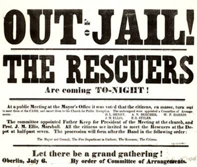 Broadsheet calling a mass meeting in Oberlin to celebrate the release of the rescuers from prison, July 7th,1859