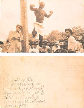 "The back of this postcard reads: ""This is the barbecue we had last night.  My picture is to the left with a cross over it.  Your son, Joe."""