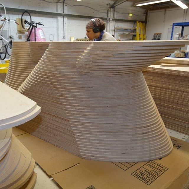 #tbt to when our workshop was dominated by Here and Now, Then and There, a beautiful #plywood #sculpture by the inspiring @nigelhallartist We're v excited to be working on another piece with Nigel which (like lots of our work) we can't reveal anything about! #art #madeinlondon #nigelhallartist