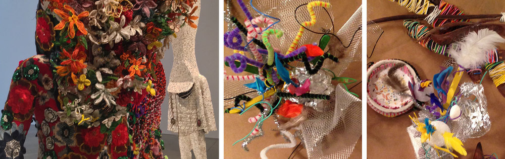 Nick Cave sound suits at the ICA Boston; creations made at the reunion from similar materials.
