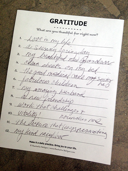 I created a little pad of Gratitude sheets that I keep on my desk. It's a great prompt for me to make a list every day.