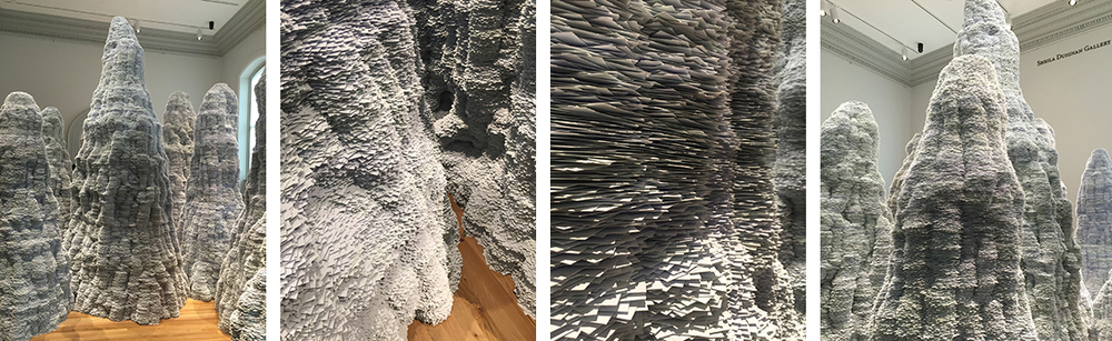 "Tara Donovan's intriguing landscape, ""Untitled"", is made of index cards!"