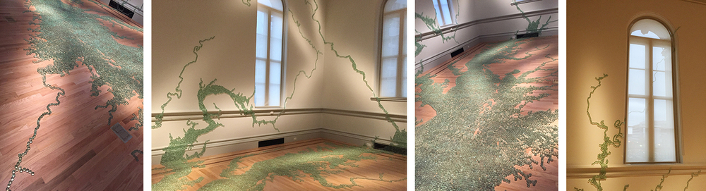 """Folding the Chesapeake"" was created by Maya Lin, using marbles to shape rivers, fields, canyons and mountains in this gallery. IT is exquisite."