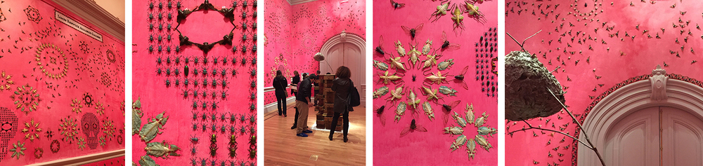 """In the midnight garden"", by Jennifer Angus, transports us into a magical and completely surprising space. Not only are the patterns on the walls made with actual insects (that are abundant in nature), the stunning pink wall color was derived from crushed insects."