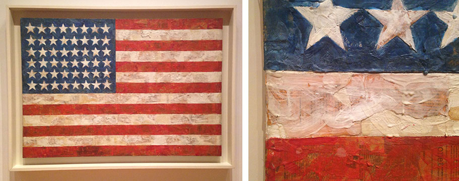 "JASPER JOHNS' ""FLAG"", AT MOMA NEW YORK IS AN ICONIC WORK, BUT HOW MANY PEOPLE HAVE LOOKED CLOSELY TO SEE THE AMAZING TEXTURES AND DETAILS OF NEWSPAPER CLIPPINGS EMBEDDED IN THICK ENCAUSTIC PAINT THAT WERE LAYERED ONTO PLYWOOD — OR CONSIDERED THE MEANING IN JOHNS' APPROACH TO CREATING THIS WORK?"