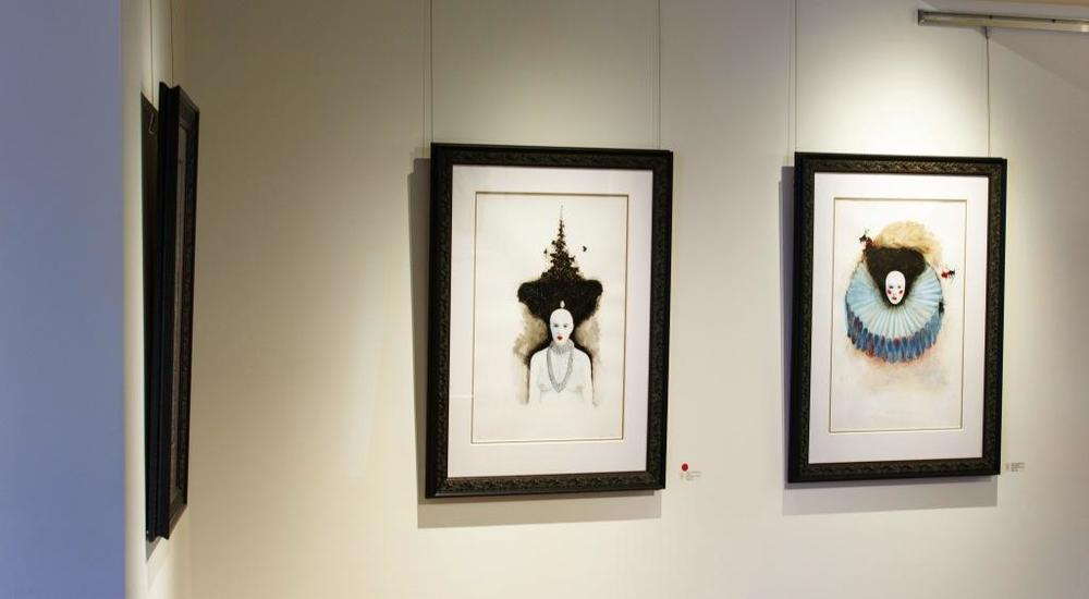 Installation shot of Sharon VanStarkenburg's Aepis Regina series during INSPIRING CHANGE.