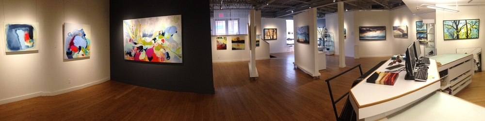 Panoramic installation shot of works by Claire Desjardins (Left) and Erica Hawkes (Right)